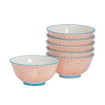 Nicola Spring 6 Piece Hand-Printed Cereal Bowl Set - Japanese Style Porcelain Breakfast Dessert Serving Bowls - Orange - 16cm