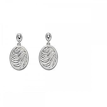 Elementos Silver Oval Wave Cortar brincos de zircônia E5497C
