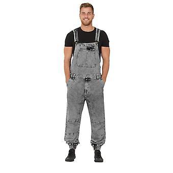 Ethan mens dungarees with elasticated ankle black acid wash