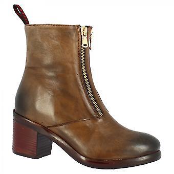 ليوناردو أحذية المرأة & apos;ق حذاء الكاحل الكعب التربيعية المصنوعة يدويا في جلد العجل البني مع اثنين من السوستة الأمامية