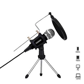 Recording Condenser Microphone Mobile Phone Microphone 3.5mm For Computer Pc  Phone (black)