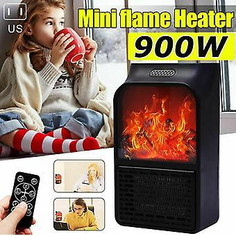 900w Wall Mount Electric Fireplace Heater Flame, Air Warmer With Remote Control