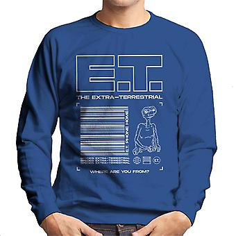 E.t. The Extra Terrestrial Where Are You From Men's Sweatshirt