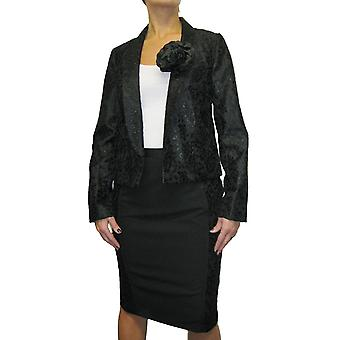 Women's Floral Jacket Skirt Suit Ladies Crochet Lace Bolero Jacket And Pencil Skirt 2 Piece Suit Party Function Cocktail Special Occasion Black Size 10