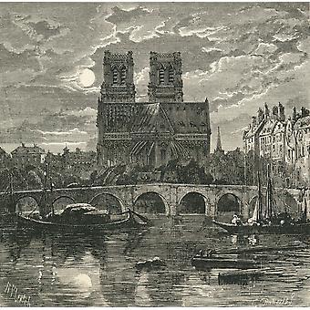 Kathedrale von Notre Dame Paris Frankreich im 19. Jahrhundert vom französischen Bilder vom Rev Samuel G Grün veröffentlicht 1878 PosterPrint