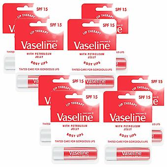 Vaseline Lip Therapy with SPF 15 Essential Moisture, Rosy Lipstick, 8Pk of 4gm