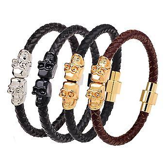 Retro Gold Men's Skull Bangle Bracelet Multicolor Leather Chain Bracelets