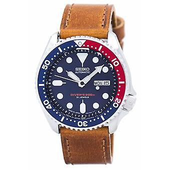 Seiko אוטומטי צולל & יחס עור חום Skx009j1-ls9 200m גברים&s שעון