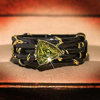 Vintage Gothic Black Tree Branch Ring With Bling Yellow Zircon Stone Rings