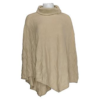 Laurie Felt Women's Sweater Cashmere Blend Turtleneck Poncho Beige A346742