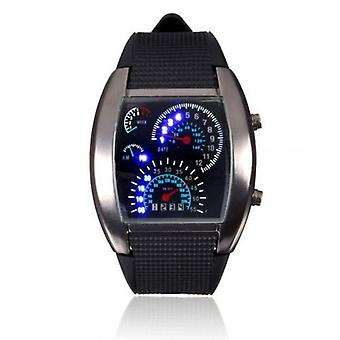 Men Fashion Led Sport Rubber Band Digital Week Date Dashboard Pattern Dial