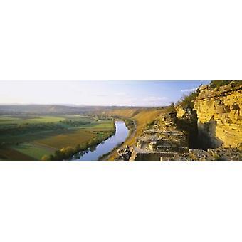 """عرض زاوية عالية من الكروم على طول نهر هيسيغيمير اينزيلاجي فيلسينجارتين ولاية بادن-فورتيمبرغ """"هيسيغيم ألمانيا طباعة ملصق"""""""