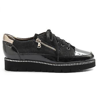 Dámské černé filozofie kožené boty s bočním zipem