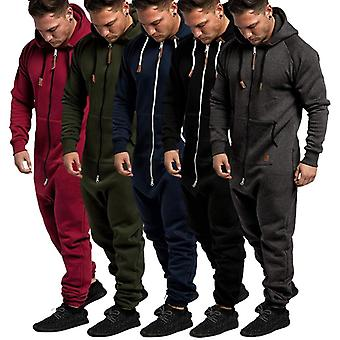 Homme Pure Color Splicing Jumpsuit, Automne, Hiver, Casual Hoodie Print Zipper