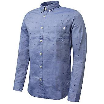 Hackett Mens Oxford Coupe Shirt Blue Polka Dot Print Smart Blue Top HM307931 595