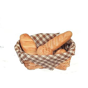 בובות בית חום סל של לחם טרי מיניאטורי מטבח אופים חנות אביזר