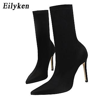 Winter Fashion Beige Pointed Toe Elastic Ankle Autumn/winter Female Socks Boots