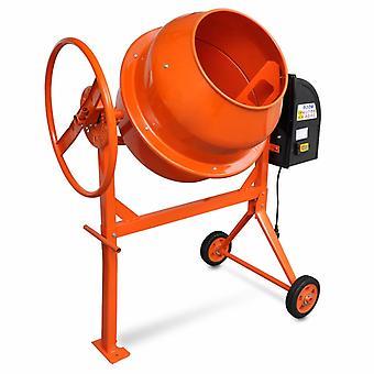 Concrete Mixer Cement Mixing Machine 140 L 650 W Steel Orange