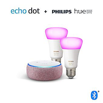 Echo dot (3rd gen), plum fabric + philips hue white & colour ambiance smart bulb twin pack led (e27)