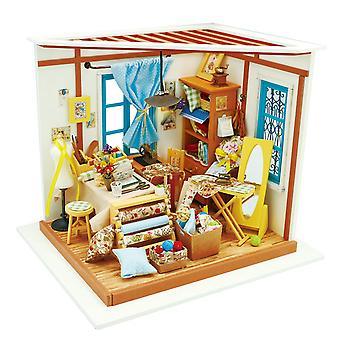 Robotime diy miniatura sala de costura 3d modelo de construção kits de artesanato casa de bonecas com móveis e acces