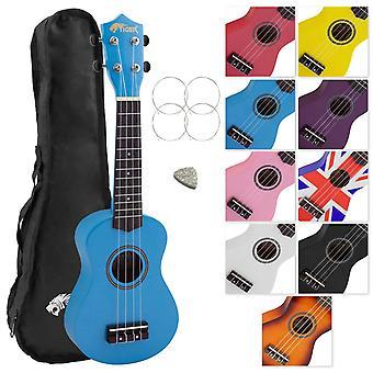 Tiger uke7 soprano ukulele for beginners includes gig bag, felt pick, spare set of strings - blue uk