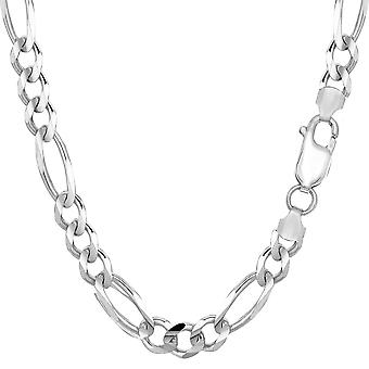 """Sterling Silver Rhodium Plated Figaro Chain Bracelet, 8.5"""""""