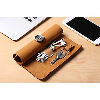 Leather Roll-up Cable Organizer