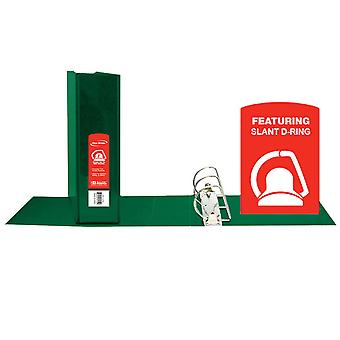 """Bazic Slant D Ring View Binder With 2 Pockets, 2"""", Green"""