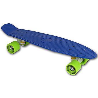 Skateboard blauw kunststof  - 22 inch - groene wielen