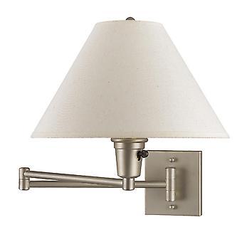 Lámpara de pared de brazo oscilante de metal de 60 vatios con sombra cónica, blanco y plata