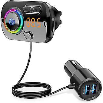 Bluetooth FM Transmitter 5.0 Handsfree Car Kit with 2 USB Port Quick Charge