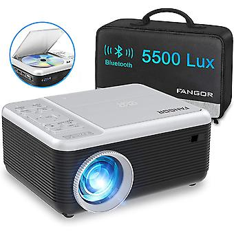 Portable Bluetooth Projector with DVD Player, Updated 5500 Lux