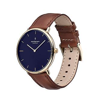 Nordgreen Unisex Native Leather Gold 40mm Watch NR40GOLEBRNA