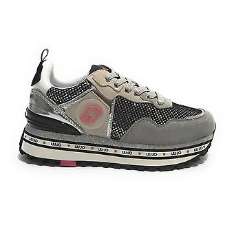 Tênis Sapatos Liu-jo Maxi Wonder Em Camurça/ Malha Cinza Feminina Ds21lj05