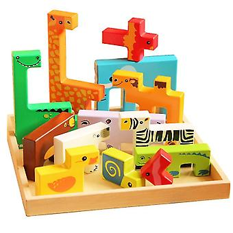 Puzzle pre batoľatá vzdelávacie hračky, drevené zviera kognitívne kreatívne hračky