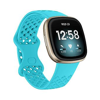for Fitbit Versa 3/ Sense Replacement Band Strap Silicone Bracelet Wristband[Small,Teal]