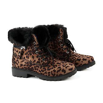 Leopard Print Kvinner Lace Opp Ankelstøvletter for Kvinner Størrelse 4 - Brun