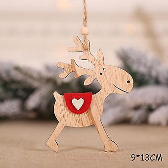 New Year Natural Xmas Elk Wood Craft Christmas Tree Ornament