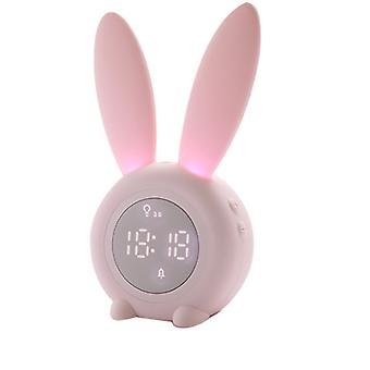 Led Desktop elektronische Uhr Cartoon Kaninchen Wecker mit atmenden Nachtlicht