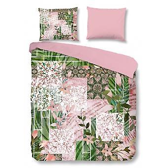 sängkläder Gloria200 x 220 cm grön/rosa
