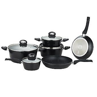 Herzberg 10 piezas forjadas cocina utensilio negro