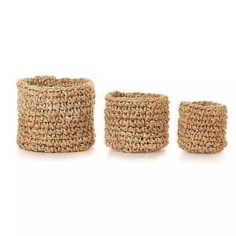 vidaXL Storage basket set 3-pcs. Handmade Jute Nature