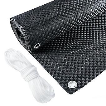Balkonscherm polyrotan 300x90 cm – Zwart