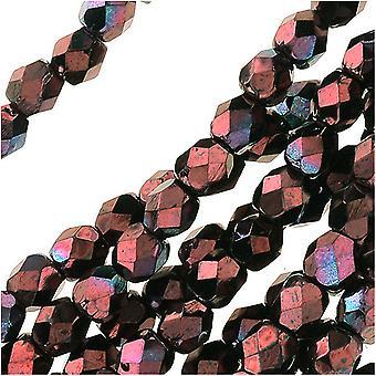 """חרוזי זכוכית צ'כית מלוטשת 3 מ""""מ עגול 'מתכתי אמטיסט Luster' (50)"""