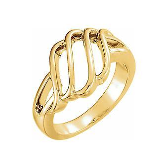 14k Gult Guld 12.5mm Polerad Friform Ring Storlek 7 Smycken Gåvor för Kvinnor - 6.4 Gram