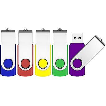 FengChun 2GB USB 2.0 Flash Drive 5 Pack Schwenken Design Memory Stick Pen Drive Daumenlaufwerk für Daten