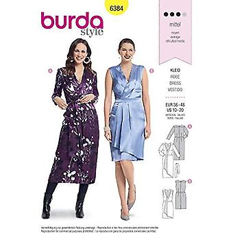 Burda Style Sewing Pattern B6384 - Misses' Wrap Dresses, A(10-12-14-16-18-20)