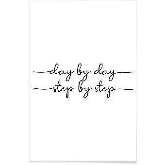 JUNIQE Print - Day by Day - Motivation Poster in Black & White