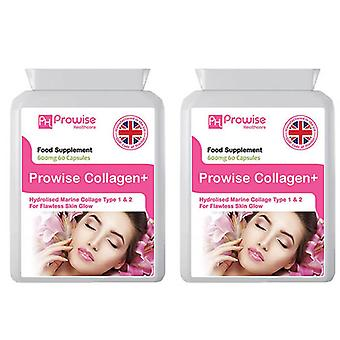 Pack of 2 - Collagen Pure Marine Collagen 600mg – 60 Capsules | Made In UK by Prowise