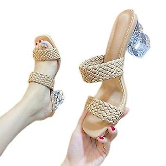 New Style Woven Slippers With Thick Heels For Women